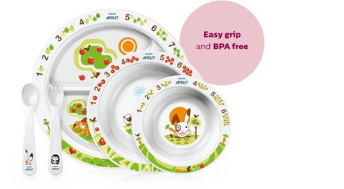 Philips Avent toddler mealtime set eagy grip and BPA free