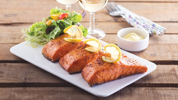 Fried Salmon with Honey Mustard Sauce
