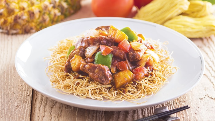 Seared Noodles with Sweet and Sour Pork