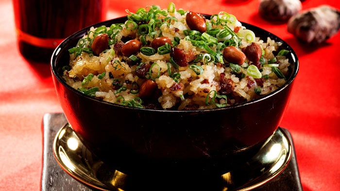 Stir-fried Glutinous Rice with Chinese preserved Sausages and preserved Duck Liver Sauages