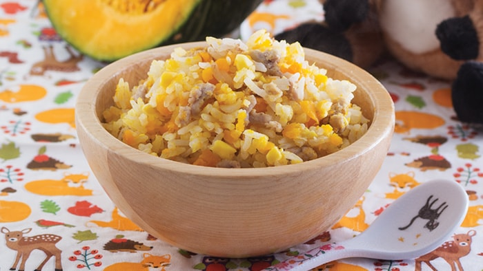 Pork Mince Rice with Sweet Corn and Pumpkin