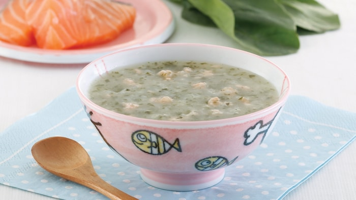 Spinach Salmon Congee