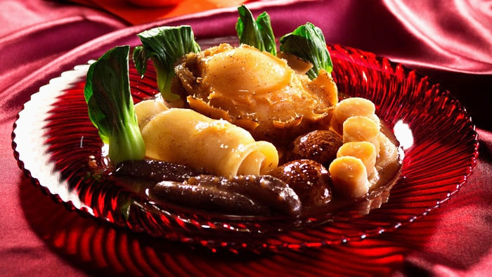 Stewed Sea Cucumber, Fish Maw and Abalone with Shrimp Roe