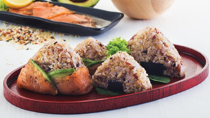 Ten Grains Onigiri Rice Balls with Smoked Salmon and Avocado