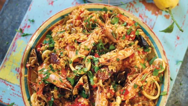 Superb seafood paella