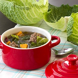 Cabbage and meatballs soup
